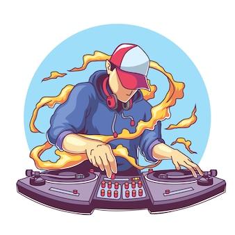 Cooler diskjockey mit mischender musik des kopfhörers