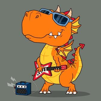 Cooler drache spielt gitarre.