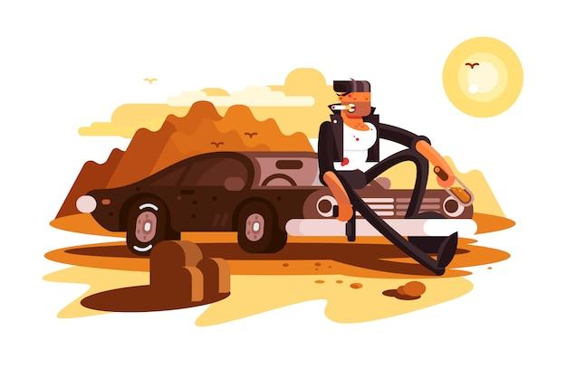Cooler harter kerl, der auf auto sitzt und raucht