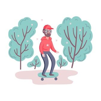 Cooler hipster-mann-charakter mit bart und skateboard im park mit bäumen.