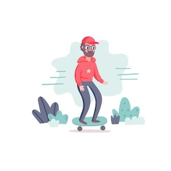 Cooler hipster-mann-charakter mit bart und skateboard.