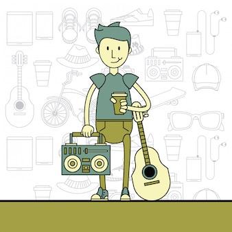 Cooler hipster-typ-cartoon