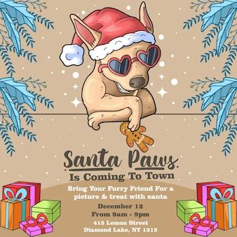 Cooler hund mit brille santa paws event weihnachtstag