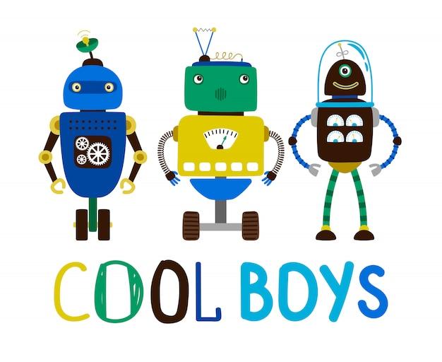 Cooler jungenroboter-t-shirt entwurf