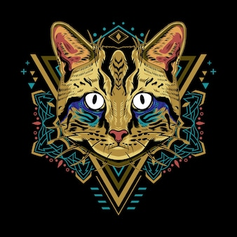 Cooler katzengeometrie-illustrationsstil im schwarzen hintergrund