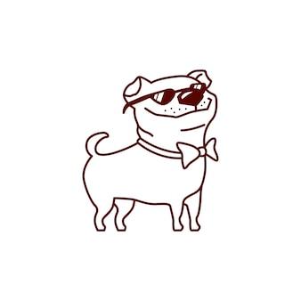 Cooler mops hund mit sonnenbrille vektor-illustration
