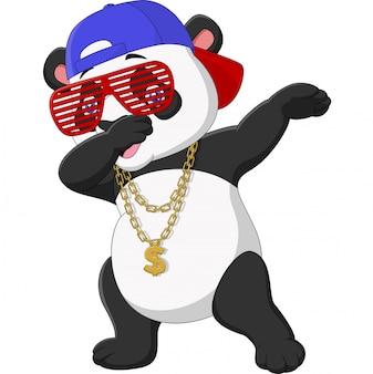 Cooler panda, der tanz trägt sonnenbrille, hut und goldhalskette abtupft