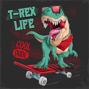 Cooler t-rex-dinosaurier, der auf rotem skateboard reitet lustiger dinosaurier-skateboarder in sonnenbrille gekleidet