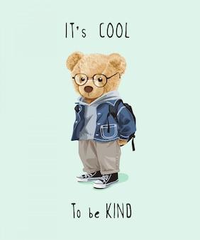 Cooler und freundlicher slogan mit bärenspielzeug in der niedlichen kostümillustration