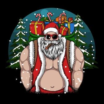 Cooler weihnachtsmann bringt mir ein frohes weihnachtsgeschenk vektor-illustration
