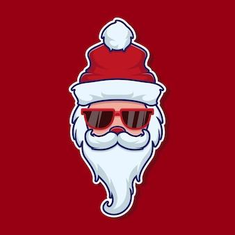 Cooler weihnachtsmann mit brillenaufkleber