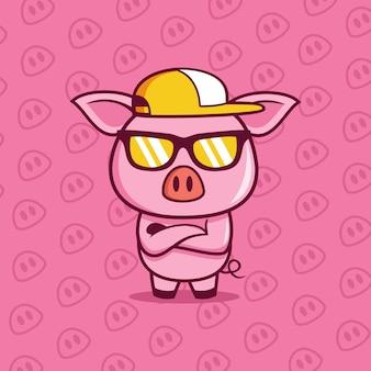 Cooles boss-schwein trägt eine brillenillustration Premium Vektoren