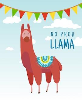 Cooles cartoongekritzelalpaka-beschriftungszitat ohne prob lama. lustiges tier der wild lebenden tiere, lama zitiert vektorkonzeptillustration.