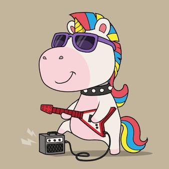 Cooles einhorn, das gitarre spielt.