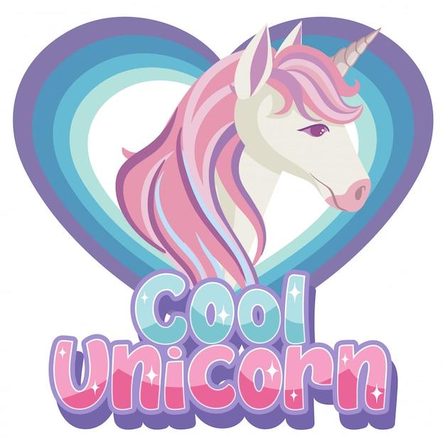 Cooles einhorn-logo in pastellfarbe mit süßem einhorn im herzrahmen