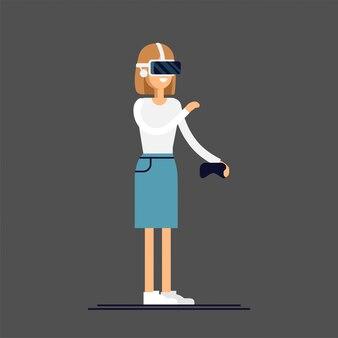 Cooles konzept für virtual-reality-headsets im einsatz. das mädchen erlebt ein vollständiges eintauchen in die virtuelle realität und versucht, nicht-physische objekte zu berühren. frauenfigur, die vr-gerät genießt