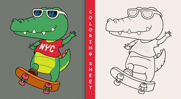 Cooles krokodil, das skateboard spielt. malvorlage.