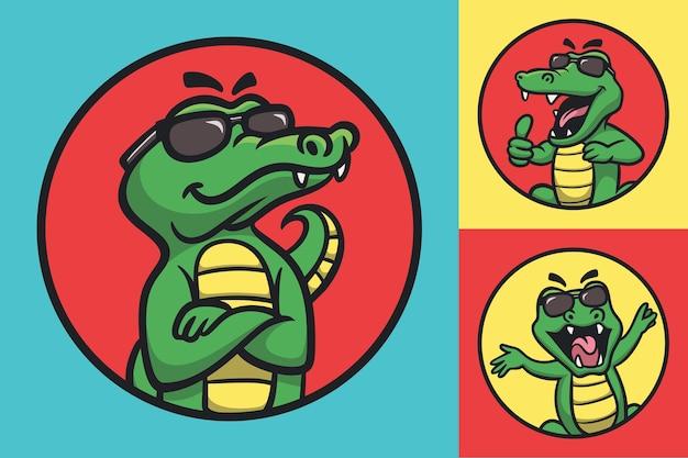 Cooles krokodil des karikatur-tierdesigns mit niedlicher maskottchenillustration der brille