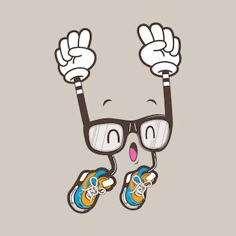 Cooles nerd brillenmaskottchen
