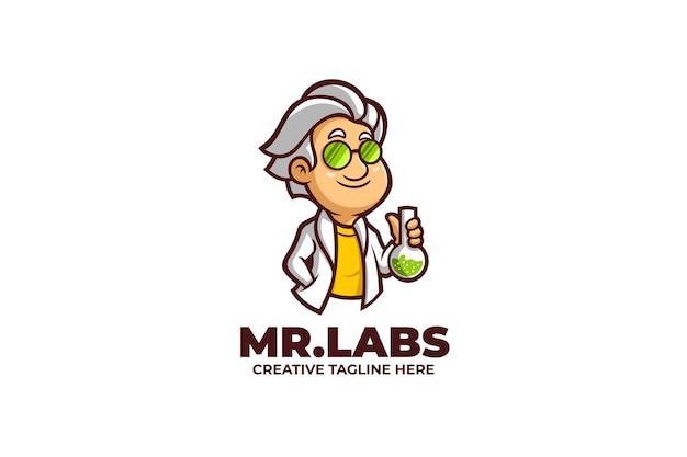 Cooles wissenschaftler-labor-karikatur-maskottchen-logo