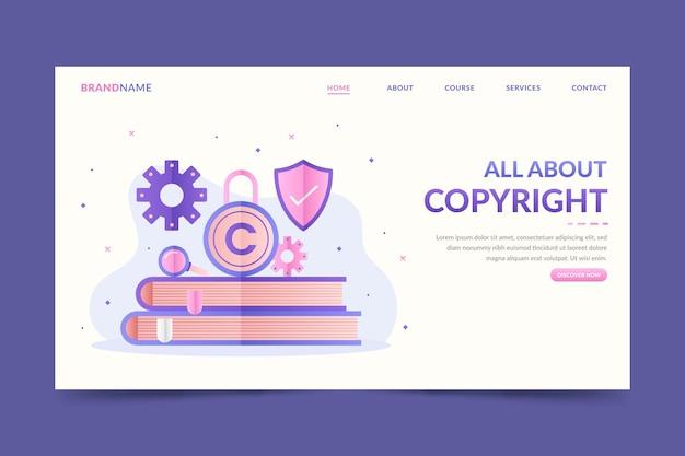 Copyright landing page vorlage mit büchern und schloss