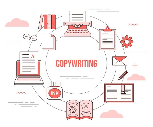 Copywriting-konzept mit satzschablonenfahne mit modernem orangefarbenem farbstil