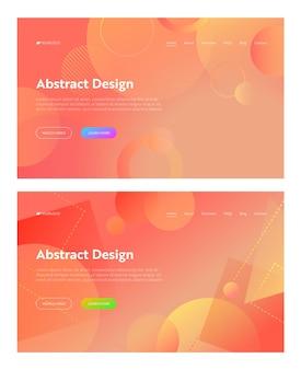 Coral abstract geometric circle shape landing page hintergrund-set. orange digital square graphic gradient pattern. flache mehrfarbige vorlagenhintergrundsammlung für website-webseiten-vektorillustration