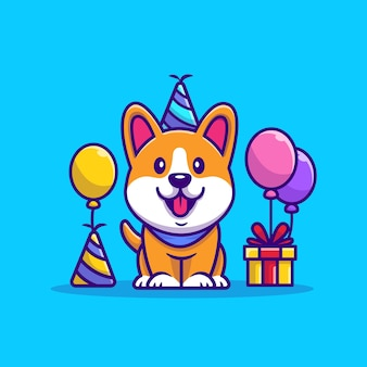 Corgi geburtstag cartoon illustration. animal party icon konzept
