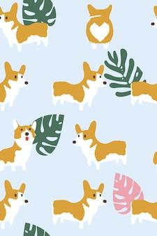 Corgi-hund und tropisches blattmuster