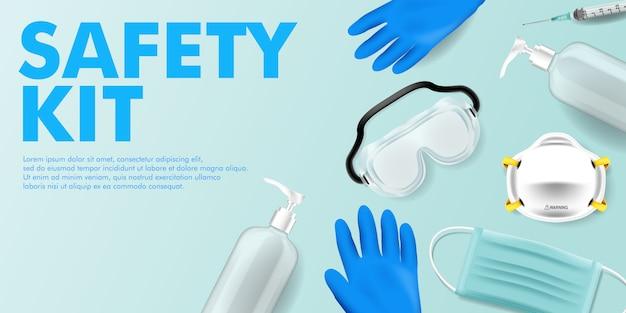 Corona covid virus medical kit und bleiben sie sicher kampagne bearbeitbare hintergrund medical kit
