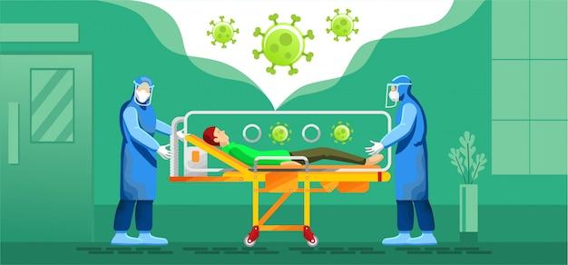 Corona-patienten werden mit einem gesundheitsbeauftragten für persönliche schutzausrüstung ins krankenhaus gebracht