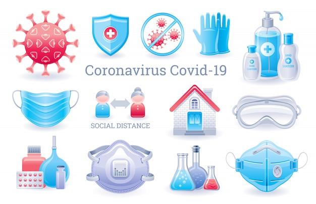 Corona-virenschutzset. virus covid präventionssammlung mit medizinischen und ppe-elementen. händedesinfektionsmittel, atemschutzmaske, handschuhe, brille, quarantänesymbol.