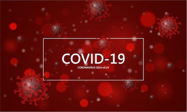 Corona virus 2020, virusinfektionen. coronavirus (2019-ncov). virus covid 19-ncp. hintergrund mit realistischen roten viruszellen. symbolillustration.