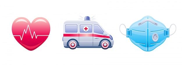 Corona virus covid 19 icon set. coronavirus-präventionssammlung. herz, krankenwagen auto atemschutzmaske ikonen.