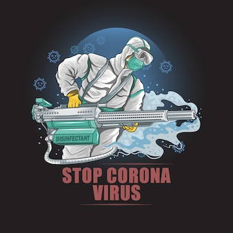 Corona virus doktor desinfektionsschutz medizinische maske und rauchvektor