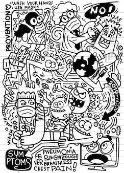 Corona virus gekritzel skizze und illustration