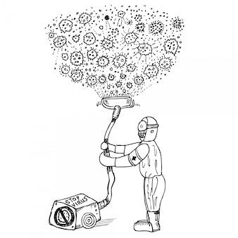 Corona-virus, illustration doodle-skizze