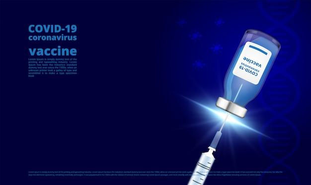 Corona-virus-impfstoffflasche und spritze dunkelblau