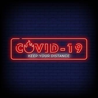 Corona virus neon signs style text