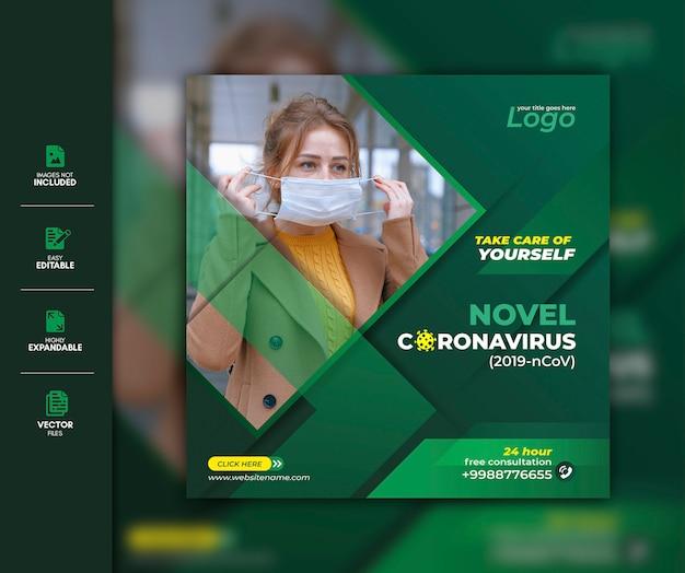 Corona virus social media beitragsvorlage premium