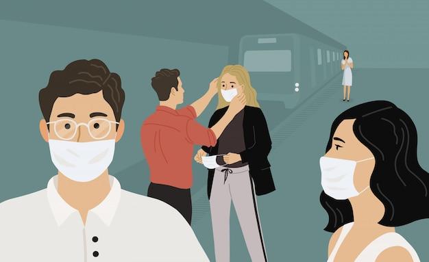Coronavirus 2019-nc0v. menschen in der u-bahn in medizinischen schutzmasken. flache illustration