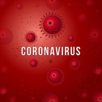 Coronavirus 2019-ncov mit krankheitszellen und roten blutkörperchen. virusinfektion oder hintergrund der bakterienkrankheit, ausbruch des covid-19-coronavirus und pandemisches medizinisches gesundheitsrisikokonzept