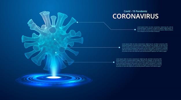 Coronavirus 2019-ncov neuartiges coronavirus low poly abstract-konzept.
