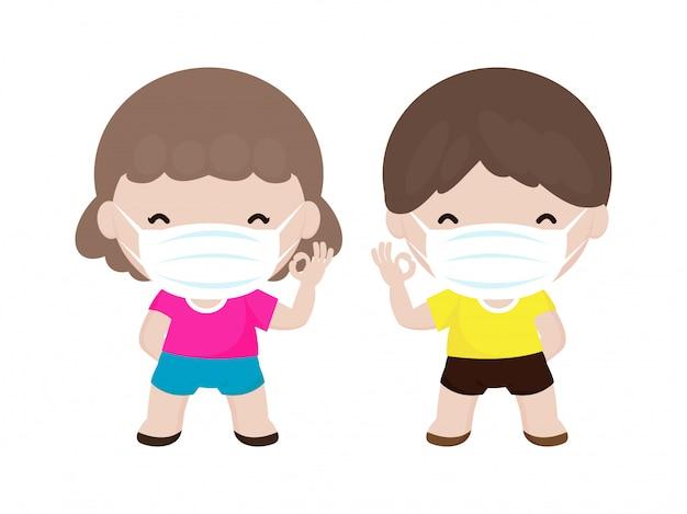 Coronavirus 2019-ncov oder covid-19-krankheitspräventionskonzept mit niedlichen kinderjungen und -mädchen, die gesichtsmaske tragen, lokalisiert auf weißer hintergrundvektorillustration