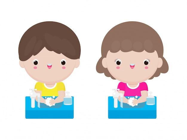 Coronavirus 2019-ncov oder covid-19-krankheitspräventionskonzept mit niedlichen kindern, die hände mit seife waschen, lokalisiert auf weißer hintergrundillustration
