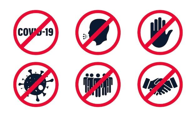 Coronavirus, 2019-ncov. set von stop red verbotszeichen. sammlung verbotener zeichen, keine menschenmenge, händedruck, kontakt, berührung, coronavirus, husten. stoppen sie rotes zeichen. gefährlich