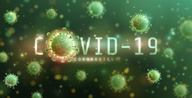 Coronavirus 2019-ncov und virushintergrund mit krankheitszellen. covid-19 corona-virus-ausbruch und pandemie-konzept für das medizinische gesundheitsrisiko