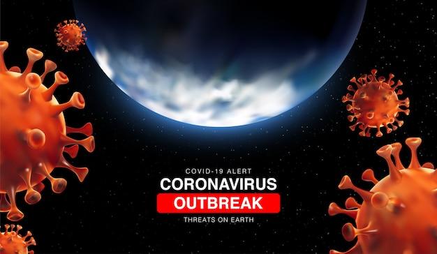Coronavirus-ausbruch bedrohungen auf der erde mit 3d-illustartion von erde und coronavirus-zelle. china-epidemie 2019-ncov in wuhan. virus covid 19-ncp. 3d-landschaft bacground