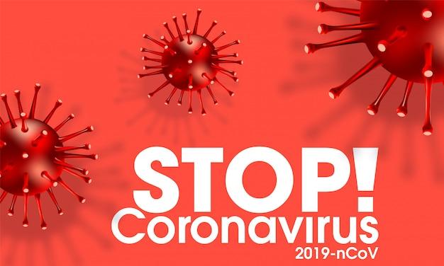 Coronavirus-ausbruch, covid-19-infektion mit realistischer illustration, influenza-hintergrund mit gefährlichen grippestammfällen als pandemische medizinische gesundheit, risikokonzept mit krankheitszellen.