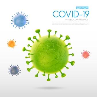 Coronavirus-ausbruch mit fallender viruszelle auf hellem hintergrund